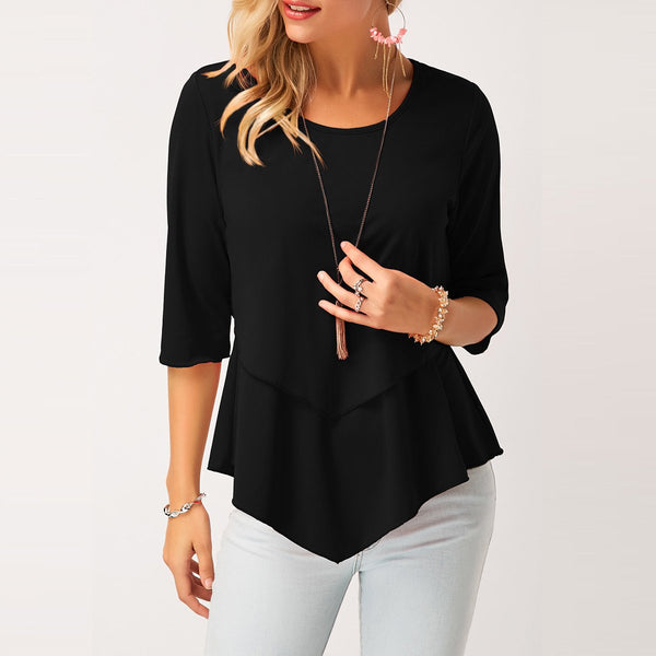 Layered Black Round Neck Asymmetric Hem Top Blouse