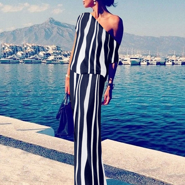Sexy Off Shoulder Stripe Maxi Dress