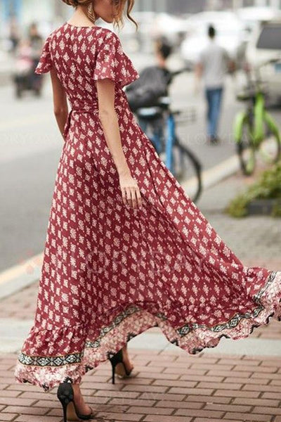 Fashion Floral Print Red Maxi Dress