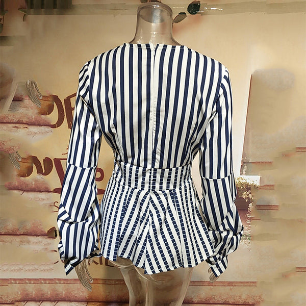 Sexy Deep V Collar Stripes Lantern Long Sleeves Shirt