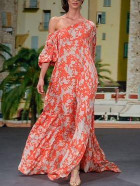 Sexy Fashion One Shoulder Floral Print Maxi Dress