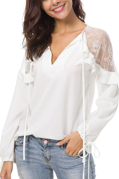 Sexy Lace Plain T-Shirts Long Sleeves Blouses