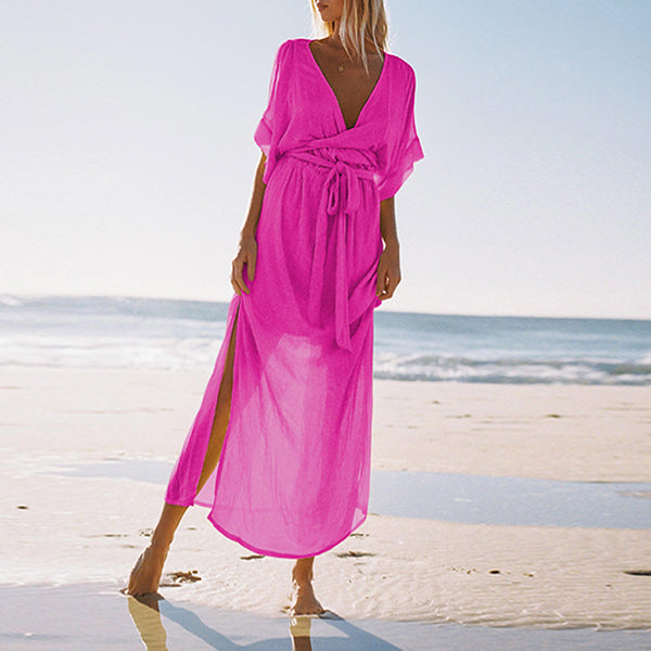 Deep V-Neck Chiffon Beach Maxi Dresses