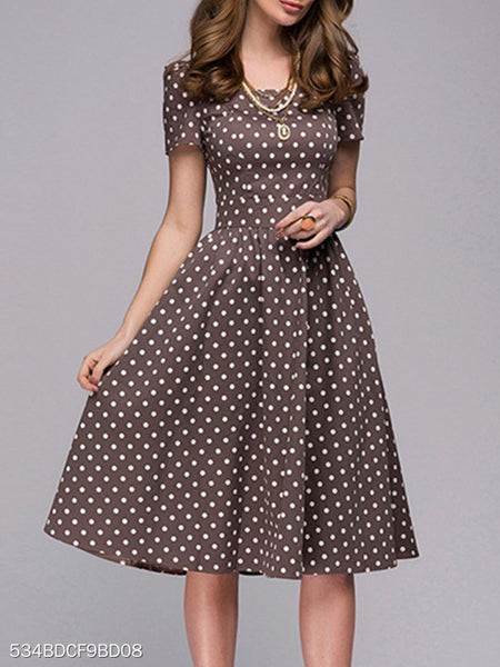 Boat Neck Polka Dot Skater Dress