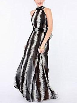 Fashion Halter Chiffon Stripe Gradient Color Maxi Dress