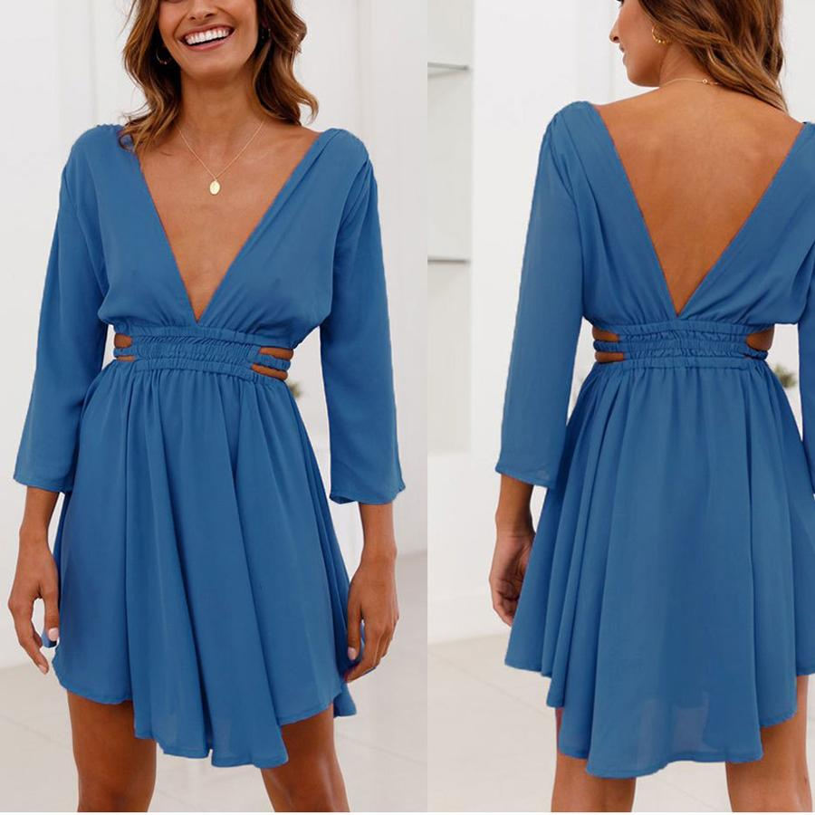 Sexy V-Neck Sleeve Waist Dress
