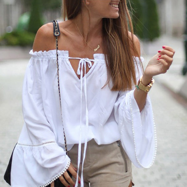 Fashion Shoulder Lotus Sleeve Tops