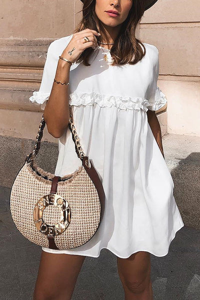 Fashion White Short Sleeves Shift Dresses