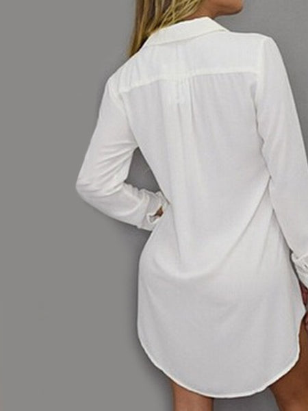 Turn Down Collar Patch Pocket Plain Shift Dress