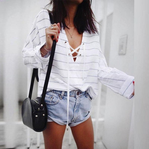 Loose Sexy V Neck Lace Up Striped Long Sleeve T-Shirt