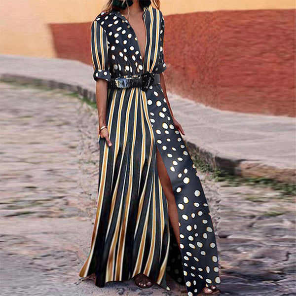 V-Neck Striped Polka Dot Maxi Dresses