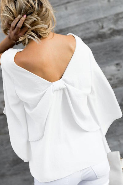 V Neck Bow Plain Casual Blouses