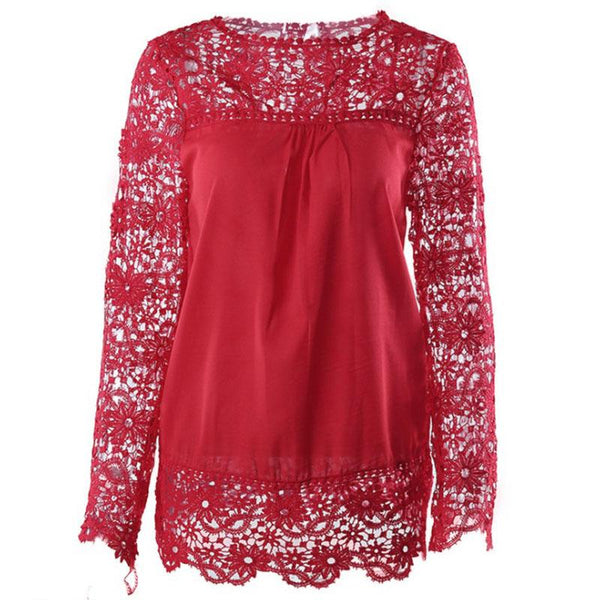 Long Sleeve Lace Hollow Out Chiffon Patchwork Blouse