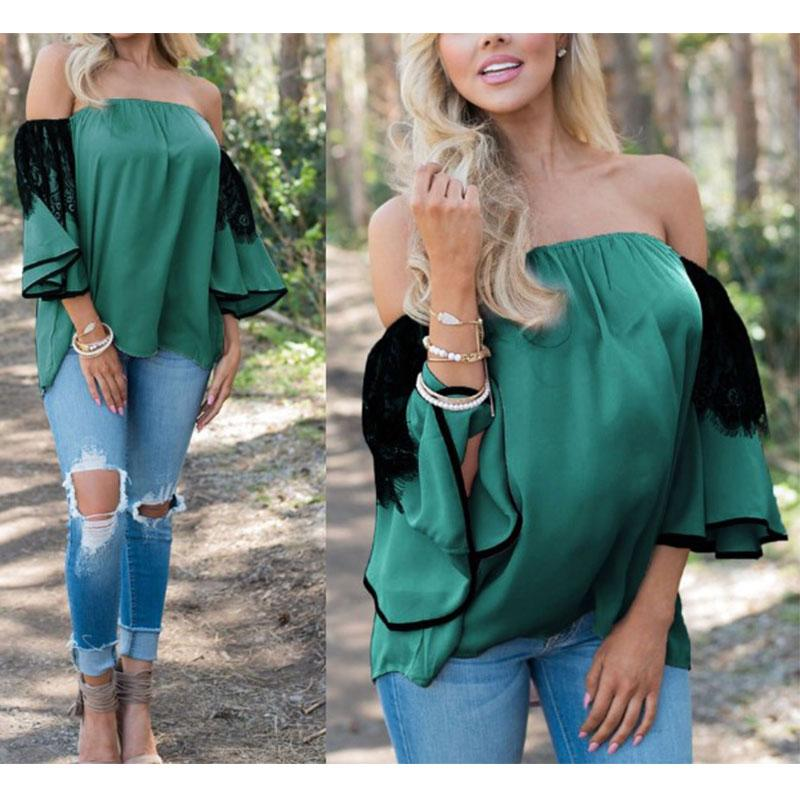 Lace Patchwork Flare Sleeve Off Shoulder Blouse