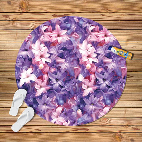 2018 Fashion Circle Flower Print Beach Towel