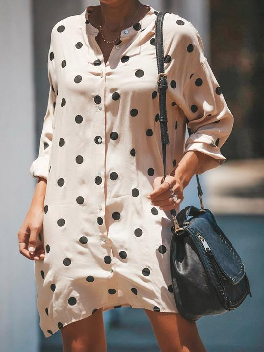 Stand Collar Polka Dot Buttons Embellished Shift Dresses