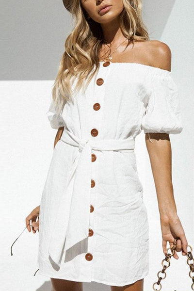Off Shoulder  Single Breasted  Belt  Plain  Short Sleeve Casual Dresses