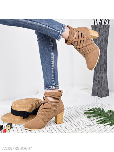 Plain Chunky High Heeled Velvet Round Toe Outdoor Ankle Boots