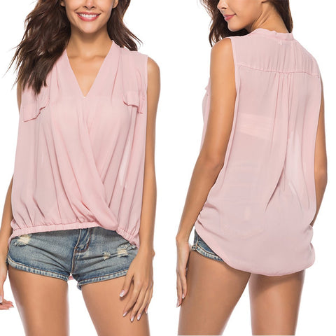 Pink V Neck Chiffon Sleeveless Blouses T-Shirt