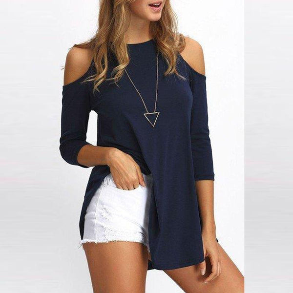 Open Shoulder Round Neck  Loose Fitting  Plain T-Shirts