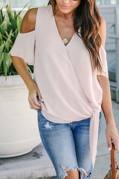 V Neck  Belt Loops  Plain Casual T-Shirts