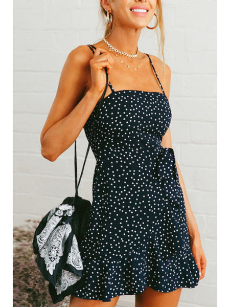 Spaghetti Strap Backless Dot Sleeveless Casual Skater Dresses