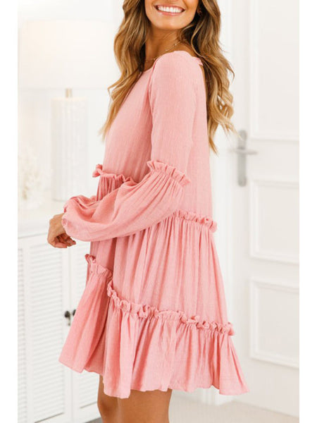 Fashion Pink Long Sleeve Elegant Mini Dresses
