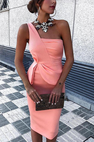 Sexy Pink One Shoulder Sleeveless Evening Dresses