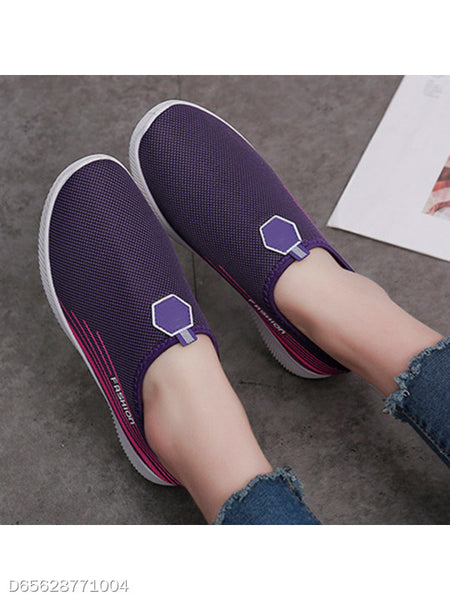 Striped Flat Cotton Round Toe Casual Sneakers