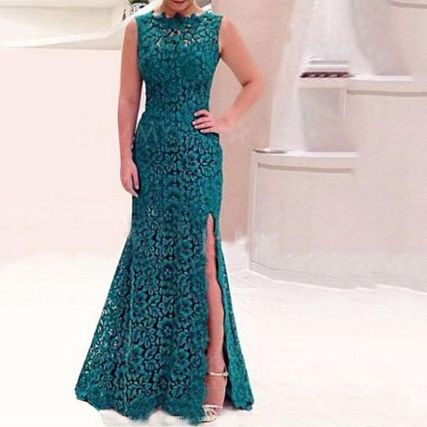 Lace Cutout Backless Sleeveless Evening Gown