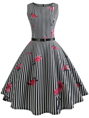 Contrast Piping Floral Striped Vintage Dresses