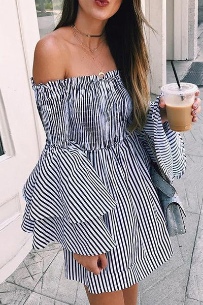 Sexy Off Shoulder Stripe Pagoda Sleeve Shift Dress