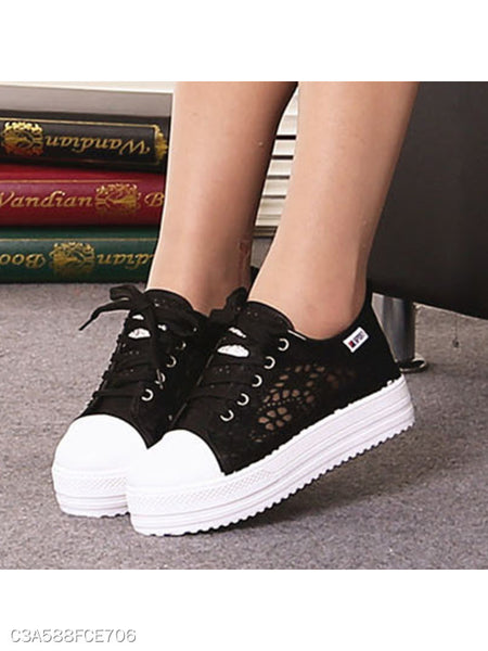 Lace Low Heeled Lace Criss Cross Round Toe Casual Sneakers