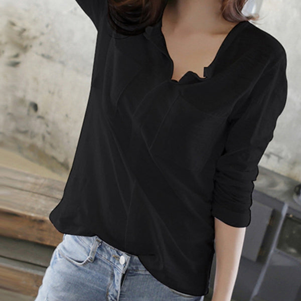 Fashion Early Autumn Pure Color V Neck Blouse