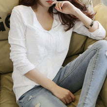 Load image into Gallery viewer, Fashion Early Autumn Pure Color V Neck Blouse