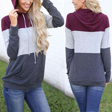Colorblock Stitching Long Sleeve Hoodie