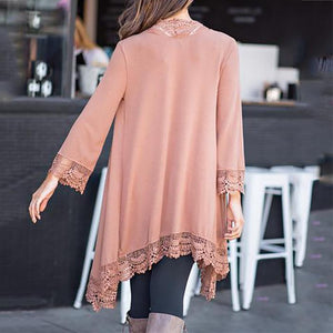 Fashion Early Autumn Lace Stitching Cardigan