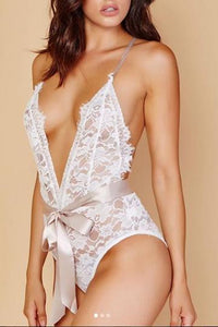 Sexy Deep V Collar Lace Backless Bow Bodysuit