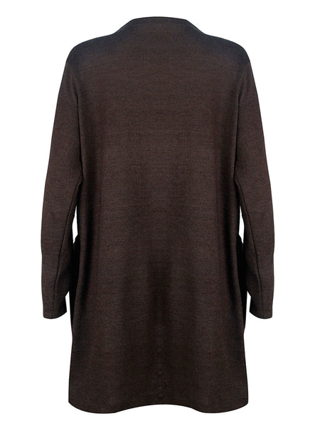 Collarless Plain Long Sleeve