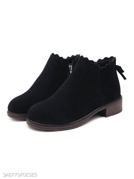 Plain Flat Velvet Round Toe Outdoor Ankle Boots