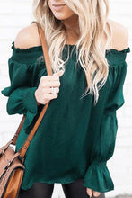 Load image into Gallery viewer, Sexy Green Off Shoulder T-Shirt Blouse