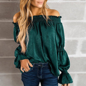 Sexy Green Off Shoulder T-Shirt Blouse
