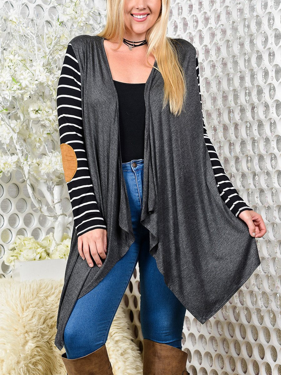 Asymmetric Hem Striped Long Sleeve Cardigans