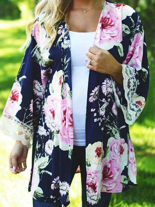 Floral Printed Casual Long Sleeve Loose Sexy Lace Cardigan