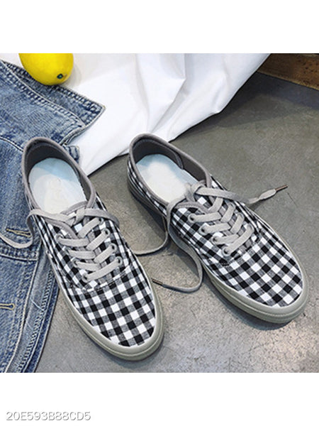 Plaid Flat Cotton Criss Cross Round Toe Casual Sneakers