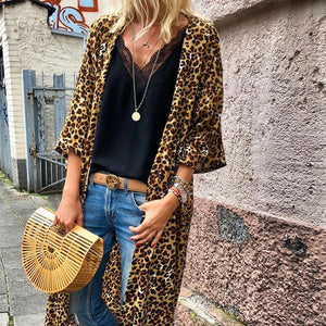 Round Neck Long Sleeve Leopard Printed Cardigan