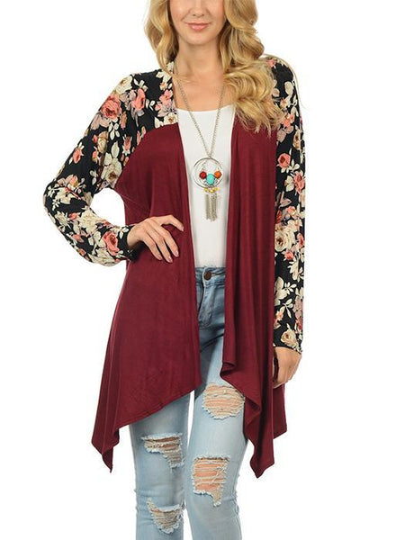 Long Floral Sleeve Spliced Irregular Cardigan