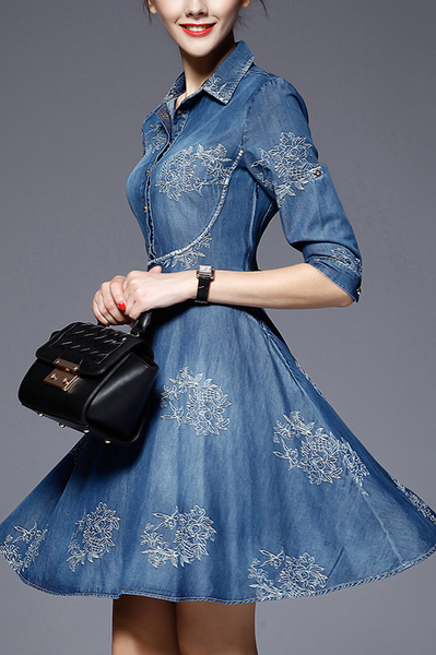 Fashion Cowboy Slim Fit Embroidery Skater Dress