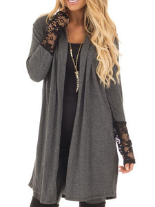 Decorative Lace Plain Long Sleeve Cardigans