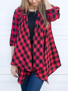 Plaid Long Sleeve Cardigans